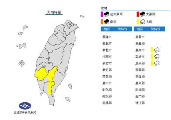 快新聞/對流雨彈炸南高屏! 氣象局發布大雨特報:易有短時強降雨