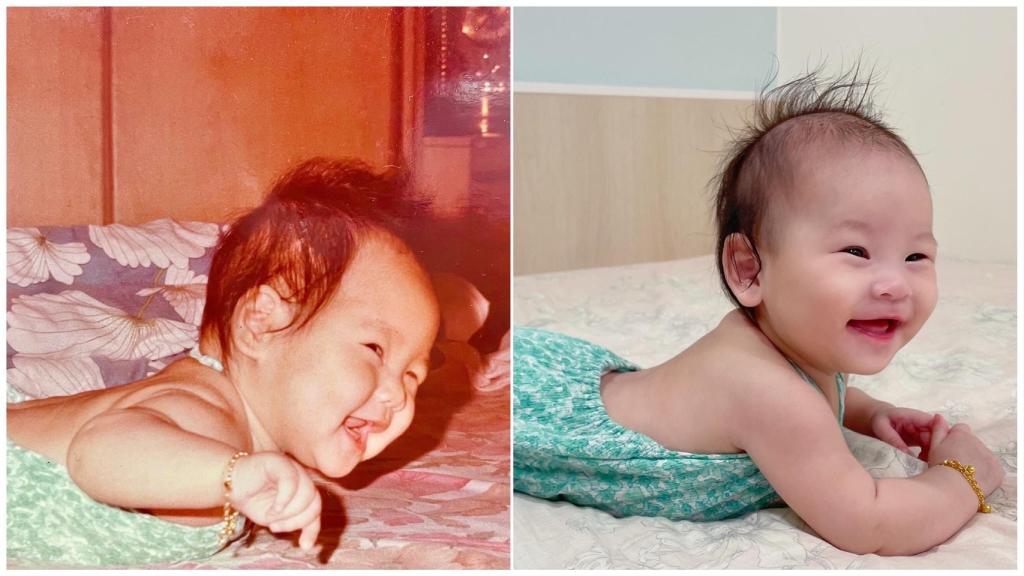 女神白家綺傳承阿嬤縫製衣和女兒小朵拉穿同款 母女根本神複製!