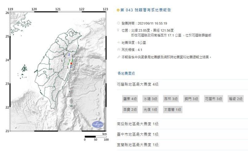 快新聞/又連2震! 花蓮壽豐鄉規模4.2、4.1地震 鹽寮最大震度4級