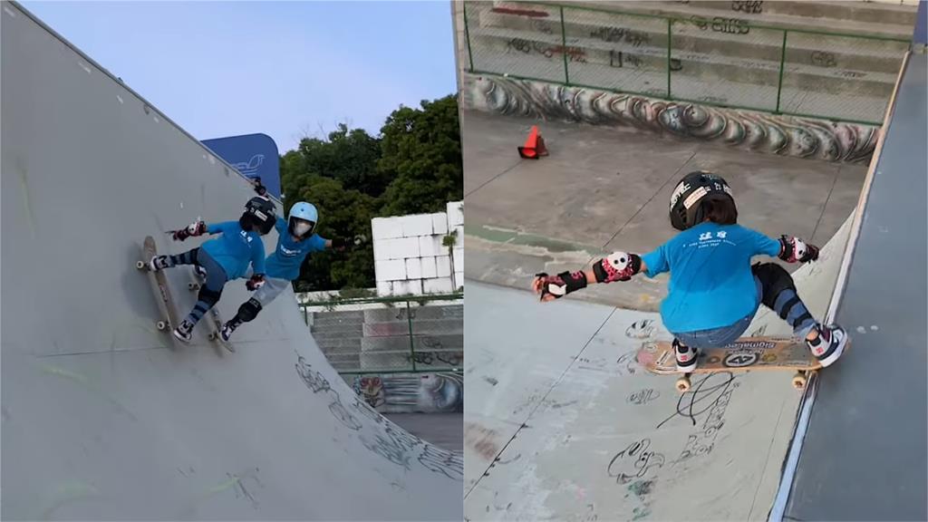 摔傷不畏懼!8歲女孩苦練1年滑板征服U管 網讚:參加2024奧運