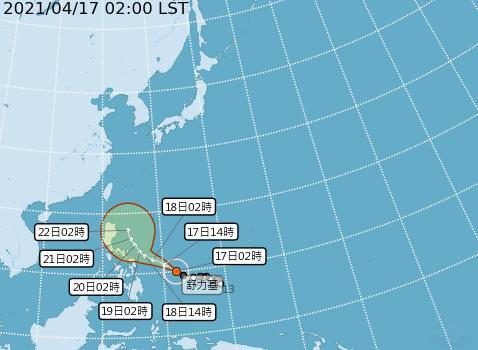 快新聞/「舒力基」北轉逼近台灣? 東半部可能將有短暫雨