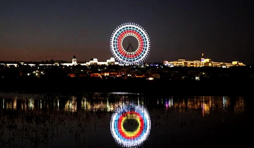 東奧/台灣代表隊「一日雙牌」! 全台最大摩天輪燈光秀「化為箭靶」祝賀