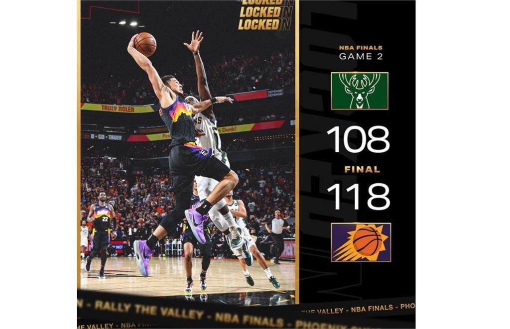 NBA/布克7顆3分獨拿31分 太陽烤公鹿總冠軍賽2連勝