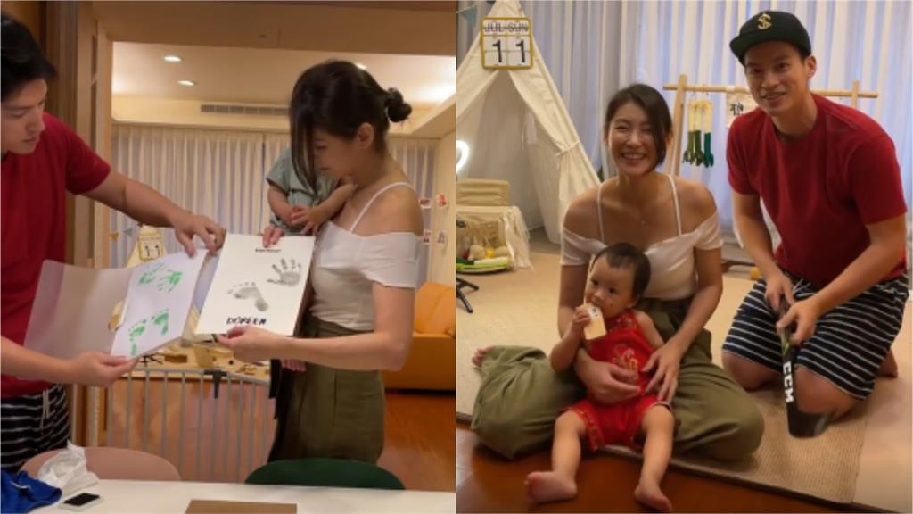 孟孟夫妻女兒1歲了!穿紅肚兜抓周「狂拿球桿揮」 許孟哲笑:跟爸爸一樣