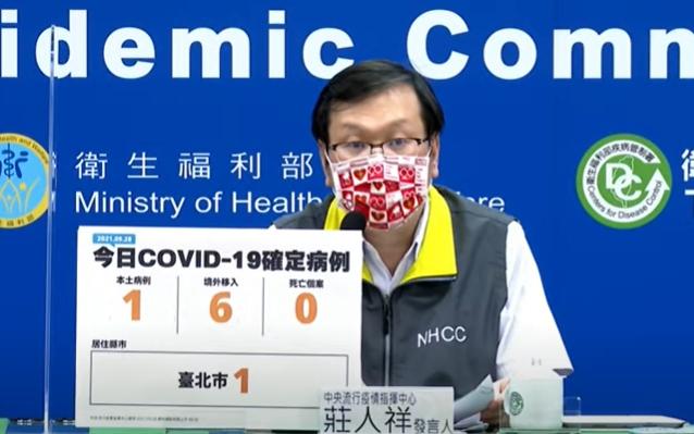 快新聞/本土今增1例在台北!6例境外移入 無新增死亡個案
