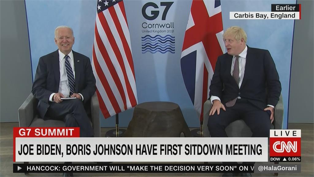 G7峰會登場前夕拜登、強森相見歡 簽署新版大西洋憲章