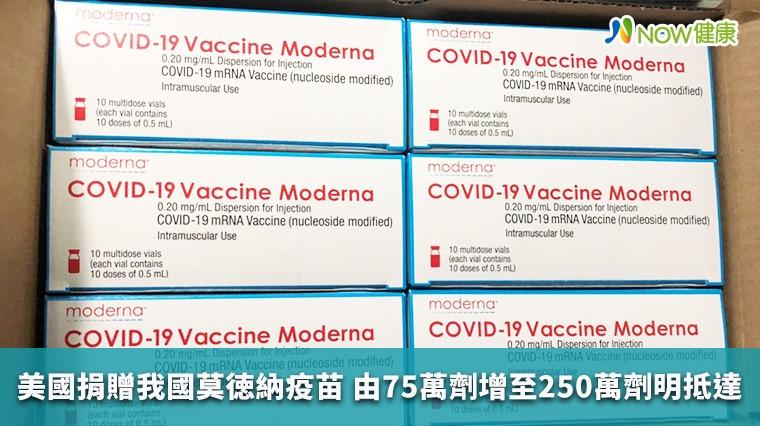 美國捐贈我國莫徳納疫苗 由75萬劑增至250萬劑明抵達