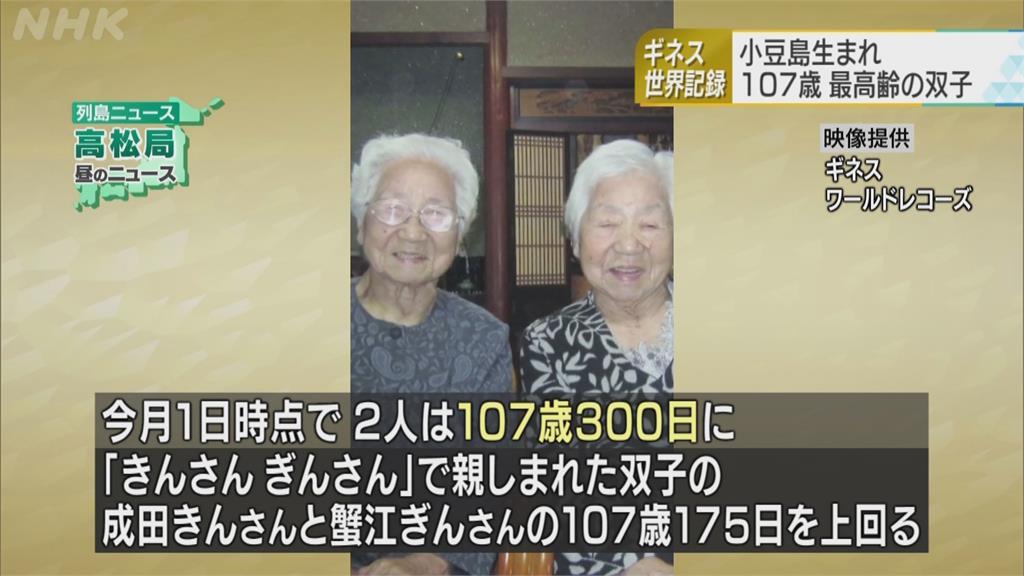 日本107歲阿嬤 金氏紀錄認證最長壽同卵雙包胎