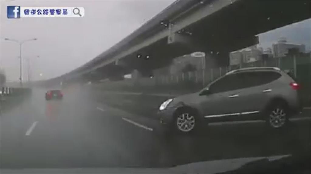 西南氣流慎防豪雨!開車「水漂」連環撞驚險畫面曝光 警提自救3要點