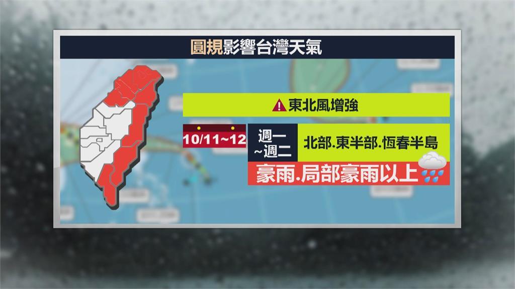 週日晚間發布海警 「圓規」外圍環流影響台灣