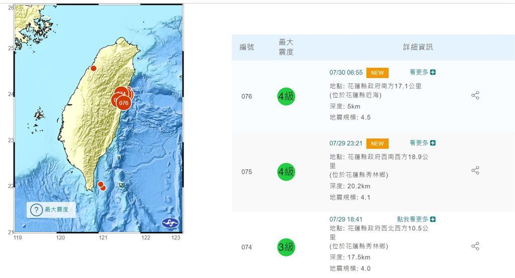 快新聞/06:55花蓮近海規模4.5地震 最大震度4級