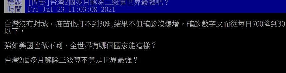 不封城「2個月」就解除三級!網讚「太自律」:台灣真的強