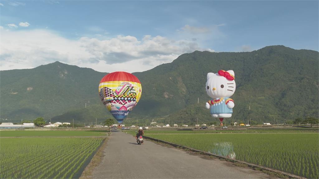 池上渡假村舉辦熱氣球祈福 凱蒂貓造型吸睛